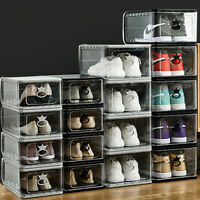 3Pack Men Sneaker Shoes Box Large Plastic Shoe Rack Container Storage Organizer