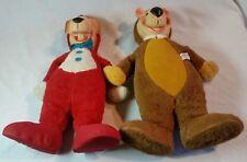 "1959 Yogi Bear & Huckleberry Hound Knickerbocker Plush Dolls- Lot of 2- 18"""
