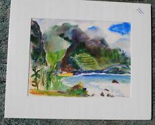 """Madeira"", signed watercolor by June Lyman,USA.Custom mat, foam-backed"