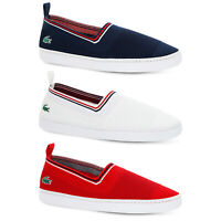 LACOSTE MENS L.YDRO SLIP ON SHOES SUMMER HOLIDAYS PLIMSOLLS NAVY WHITE RED LYDRO