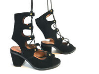JEFFREY CAMPBELL Free People black suede lace up block heel sandals 7 FREE SHIP!