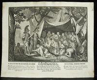 Grabado Siglo XVIII Alexander El Grande / Darius Sebastien Leclerc Ap Chalres El