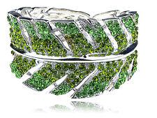 Green Crystal Rhinestone Leaf Plant Design Bracelet Bangle Cuff Unique Jewelry