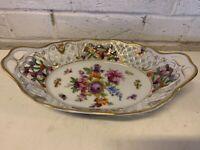 Vintage Dresden Schumann Bavaria Pierced Porcelain Handled Oval Dish with Dec.