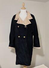 Pierrette B Size 8 Pea Coat Super Angora Wool Cashmere Black Tan Switzerland