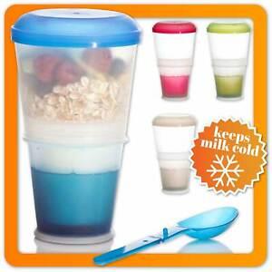 Müsli-to-go-Becher mit isoliertem Milchkühlfach & Löffel Müslibecher 2-go