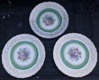 "Set (3) Rosenthal Floranada Continental Ivory 10"" Dinner Plates Green Gold Trim"