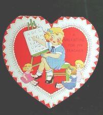Vintage Valentine Card A Valentine For My Teacher Heart Shaped Girl teaches doll