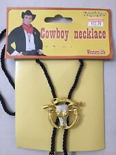 Cowboy Necklace Western Bolo Gold Steer Pendant New