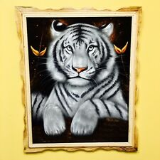 White Tiger Oil Velvet Painting