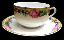 ANTIQUE LIMOGES FRANCE HAVILAND & CO GLORIA CABBAGE ROSE TEA COFFEE CUP & SAUCER
