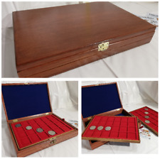 Boxset Superior Mahogany and Blue with 2 Trays in Wood for Coins Coins&more