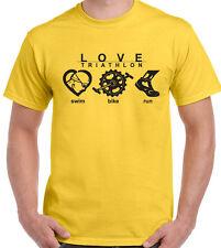 Love Triathlon - Mens T-Shirt Cycling Running Swimming Ironman Sport Bike Kit