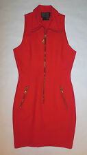 DONNA KARAN NEW YORK WOMENS DRESS RED NEON SHEATH BLACK LABEL ZIP DRESS SZ 4
