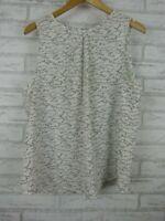Tokito Top/Blouse Sleeveless White, Black, Grey Print Exposed Zip Sz 16