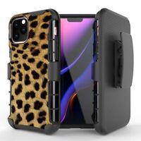 Cheetah Spot Print Hybrid Armor Belt Clip Rugged Case iPhone 11 XS Max XR 8 7 6