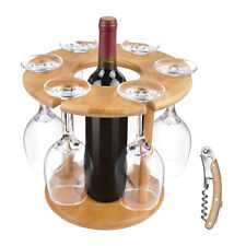 Wine Glass Drying Rack and Bottle Holder Wooden Wine Storage Glasses Hook Stand
