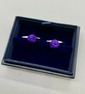 Ralph Lauren 925 solid Sterling Silver Cufflinks with purple knot