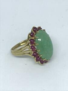 18K Yellow Gold Green Jade and Ruby Ring