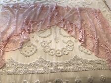 VINTAGE LACE PINK Swag CURTAINS Lace VALANCE SHABBY COTTAGE GRANNY CHIC FRENCH