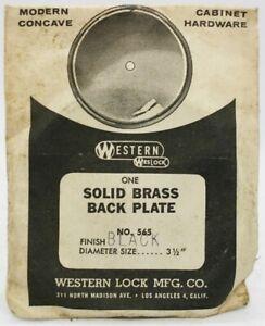 "Western Lock 1950's Solid Brass Cabinet Knob Backplates NOS - 3.5"" BLACK - 10pcs"