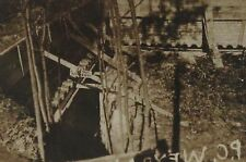 """1918 WWI Deep Trench, Sign Reminds Soldiers of Gasmask B&W Photograph 3.5 x 2.5"""""""