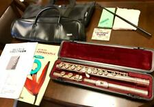 YAMAHA Flute YFL-221 with 9 Accessories Used Good Condition Silver Made in Japan