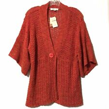 Coldwater Creek open weave orange sweater large faux button NWT