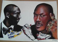 Stampa litografia 60 x 80 Michael Jordan e Kobe Bryant
