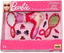Barbie a tema PARRUCCHIERE KIT BATTERIA Asciugacapelli Spazzola SPECCHIO ecc.