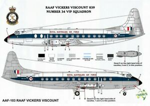 1/96 RAAF DECALS; Vickers Viscount 800 RAAF VIP