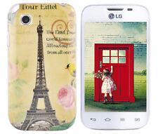 Hülle f LG L40 D160 Schutz Case Cover Tasche Bumper Silikon TPU Paris Eiffelturm