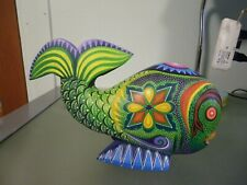 Oaxacan Mexican Alebrijes Folk Art Fish Hand painted wood carving Signed