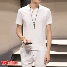 Men Linen Shirt and Shorts Set Sleeveless Tshirt Button V Neck Shorts Drawstring