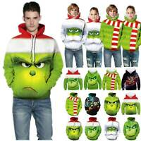 Ugly The Grinch 3D Hooded Sweatshirt Adults Kids Xmas Sweater Pullover Jumpers