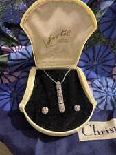 In Vintage Box. Paste Diamanté Art Deco pendant necklace With Earrings