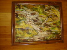 Abstract Landscape Fall trees water original oil painting signed Pat Arnett