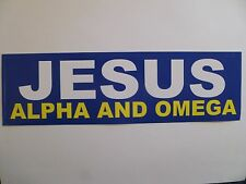 """JESUS ALPHA AND OMEGA"" 3"" X 10"" BUMPER STICKER-NEW!"