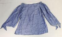 Appraisal Women's Plus Off The Shoulder Polka Dot Shirt SC4 Blue Size XL NWT
