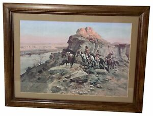 24x18 Framed Print Native Americans Riding Horses on Mountain Landscape