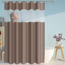 Elegant Brown Waterproof Fabric Shower Curtain White Transparent Window Modern