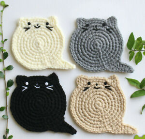 Fat Cat Coasters set, Cat lover gift, Crochet Cat Coasters, Birthday Gift, Chris