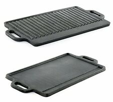 Professional Heavy Duty Reversible Double Burner Cast Iron Grill Griddle