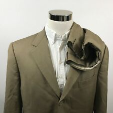 Hart Schaffner Marx Mens 42R Suit 36 x 28 Pleatd Beige Worsted Wool Three Button