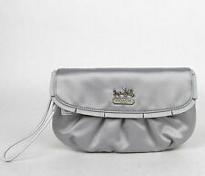 $295 New Coach Grey Satin Amanda Wristlet Clutch H0932 43402