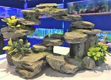 Large Grey Rocky Arch with Plastic Plants Aquarium Fish Tank Ornament MS310