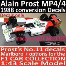 F1 Collection ALAIN PROST MP4/4 conversion DECALS 1/43 Marlboro McLaren 1988