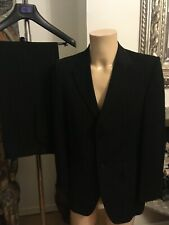 Gibson SB 2 Button Black Self Striped Polyester Suit Size 38S VGC