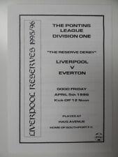 More details for liverpool v everton | 1995/1996 | pontins reserves | 5 apr 1996 | uk freepost