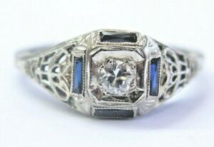 18Kt Vintage Ceylon Sapphire & Diamond White Gold Ring .32Ct